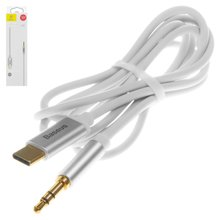 AUX кабель Baseus M01, USB тип C, TRS 3.5 мм, 120 см, білий, #CAM01 02 - Короткий опис
