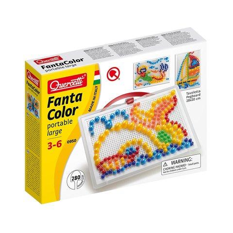 Набор для занятий мозаикой Quercetti фишки 10 15 20 мм 280 шт.  + доска 22×16