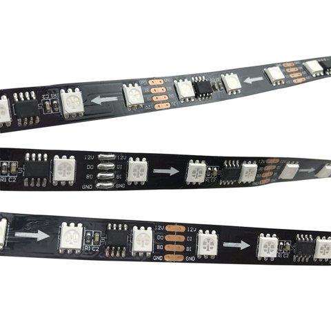 RGB LED Strip SMD5050, WS2818 black, with controls, IP20, 12 V, 60 LEDs m, 5 m